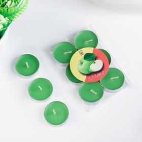 Свечи восковые в гильзе (набор 6 шт), аромат яблоко - фото 1706323