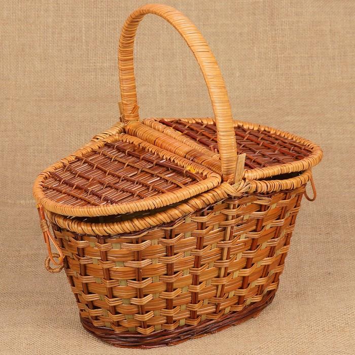 Корзина «Пикник», с двухстворчатой крышкой, 33х21х22 см, бамбук, сыть