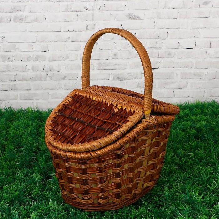 Корзина «Пикник», с двухстворчатой крышкой, 25х13 см, H=14/11см, бамбук, сыть