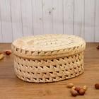 Коробка «Плетёнка», овальная, 30,5×24,5×15 см, пальмовый лист