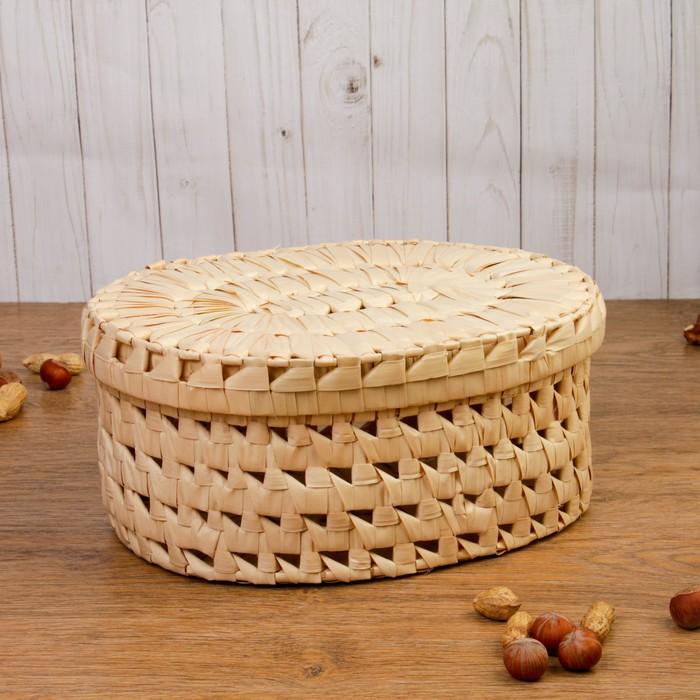 Коробка «Плетёнка», овальная, 30,5х24,5х15 см, пальмовый лист
