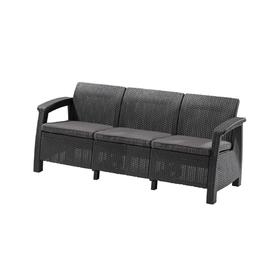 Диван Corfu Love Seat Max, 3-местный, 180 × 70 × 80 см, искусственный ротанг, цвет графит