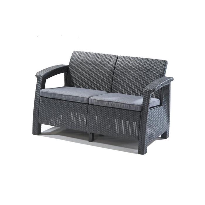 Диван Corfu Love Seat, 2-местный, 130 × 70 × 80 см, искусственный ротанг, цвет графит