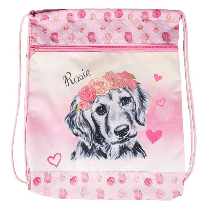 Мешок для обуви 430х350 мм Belmil Rosie, с карманом, на молнии, розовый