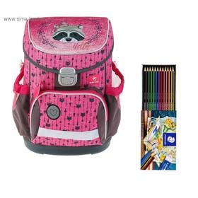 Ранец на замке Belmil Mini-Fit, 36 х 28 х 17 см, Miss Racoon, розовый/серый