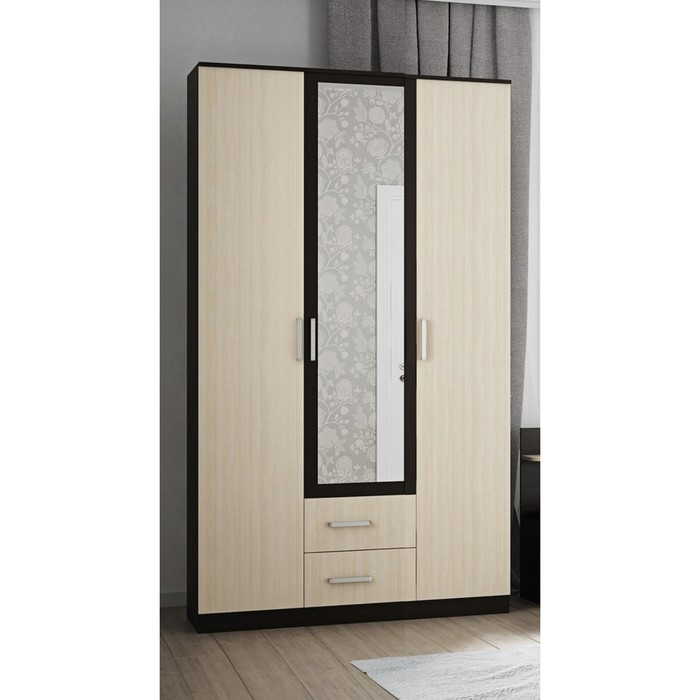 Шкаф Аура 3-х створчатый с ящиками, 2220х1200х500, Венге/Дуб молочный