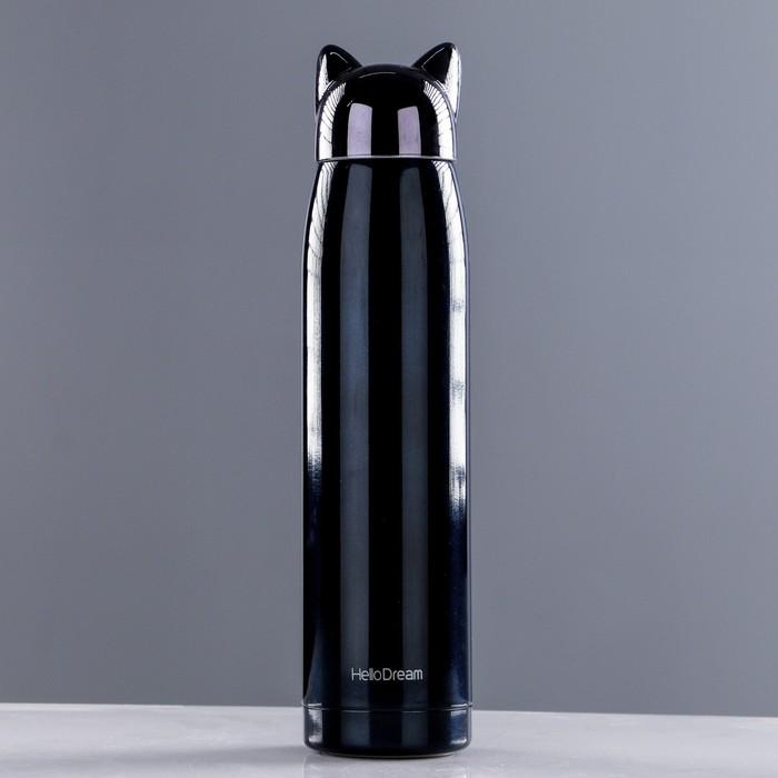 "Термос ""Кошка"", 320 мл, сохраняет тепло 8 ч, на шнурке, микс, 6х25 см"