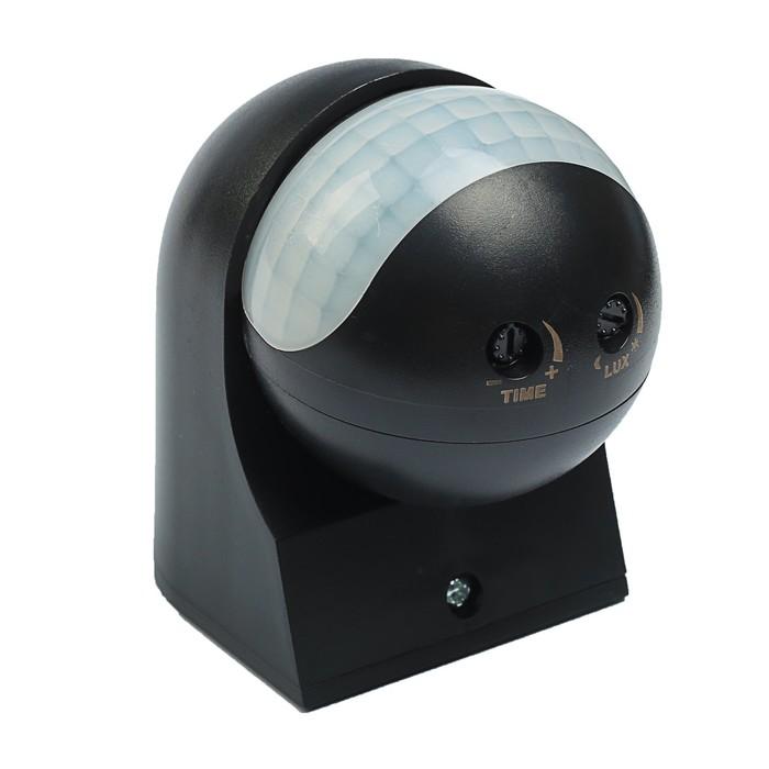 Датчик движения уличный 800 Вт, IP54, 180 градусов, 12 метров, компактный,110-240 В, ЧЕРНЫЙ