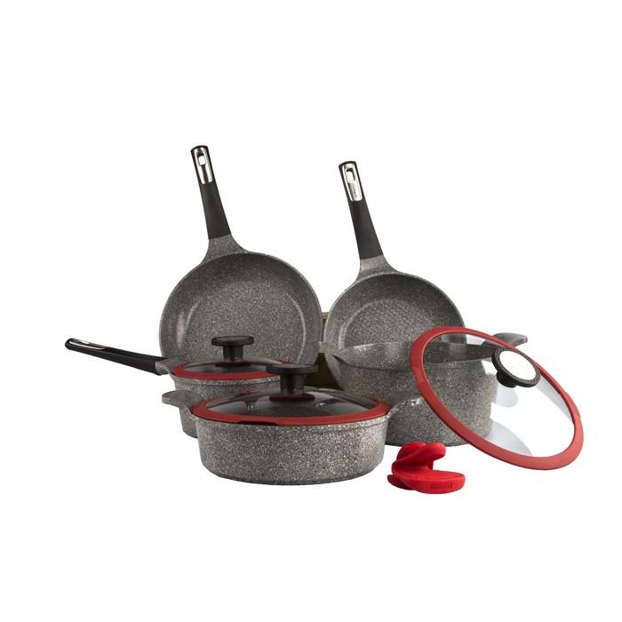 Набор посуды OZEN-N20, литой алюминий, 5 предметов + силиконовые прихватки