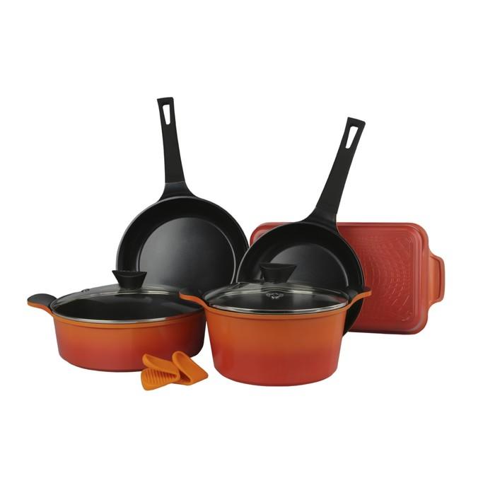 Набор посуды ORCA-N20, литой алюминий, 5 предметов + силиконовые прихватки