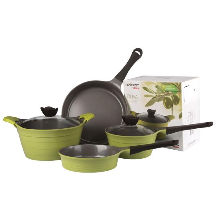Набор посуды OLIVA-N20, 5 предметов + силиконовые прихватки