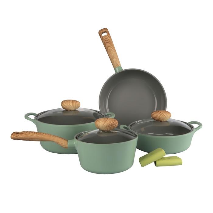Набор посуды Greenwood-N20, литой алюминий, 4 предмета + силиконовые прихватки