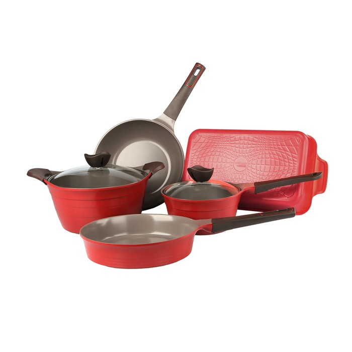 Набор посуды BORDO-N20, 5 предметов, + силиконовые прихватки