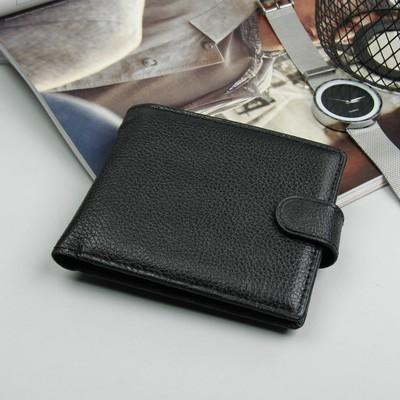 Портмоне мужское, 2 отдела, для кредиток, для монет, флотер, цвет чёрный
