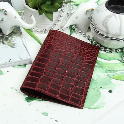 Обложка для паспорта, крокодил/скат, цвет бордовый