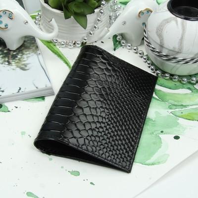 Обложка для паспорта, наплак/питон, цвет чёрный