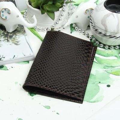 Обложка для паспорта, питон/скат, цвет коричневый