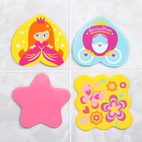 Мини-коврики для ванны «Принцесса», на присосках, набор 4 шт.
