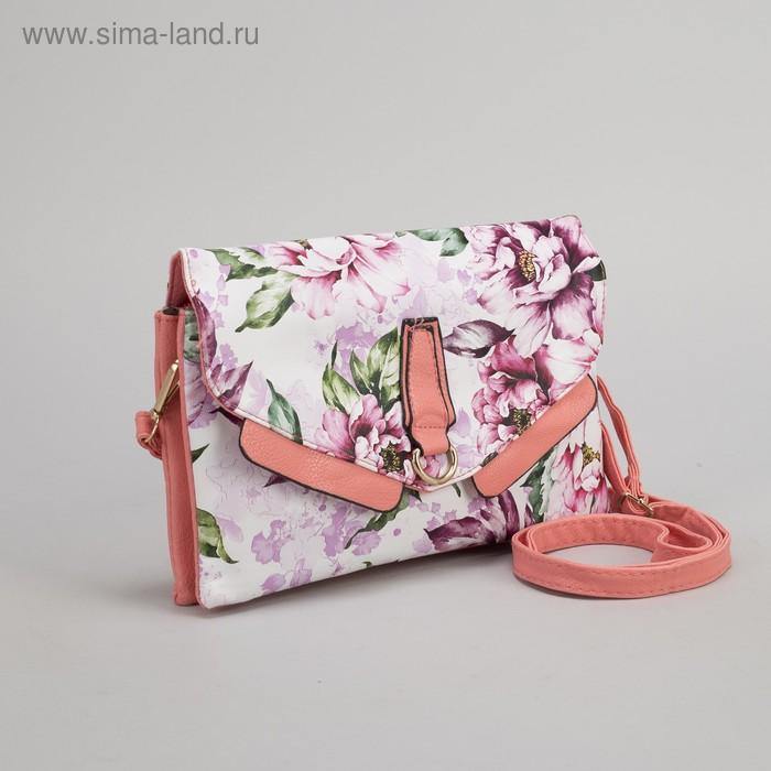 Клатч женский, 3 отдела на молнии, наружный карман, длинный ремень, цвет розовый