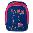Рюкзак каркасный YES H-12 38*29*15 для девочки, Owl, синий