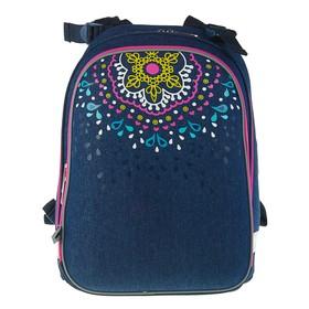 Рюкзак каркасный YES H-12 38 х 29 х 15 см, для девочки, Mandala, синий