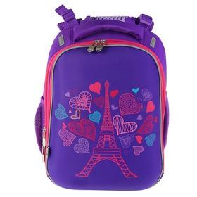 Рюкзак каркасный YES H-12 38 х 29 х 15 см, для девочки, Paris, сиреневый