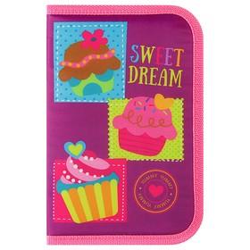 Пенал 1 секция с откидной планкой 130 x 205 мм, ткань, для девочки, Smart Sweet dream