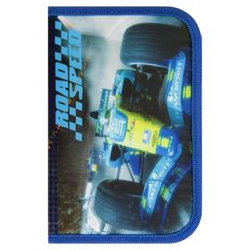 Пенал 1 секция 130 х 205 мм, откидная планка, ткань, для мальчика, Smart Road speed