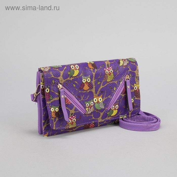 Клатч женский, 3 отдела на молнии, длинный ремень, цвет фиолетовый
