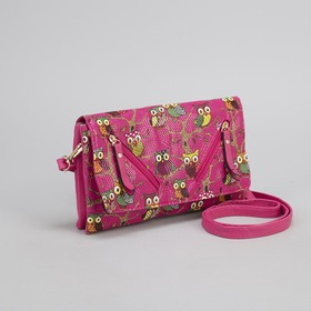 Women's clutch bag, 3 sections with zipper, long strap, color pink