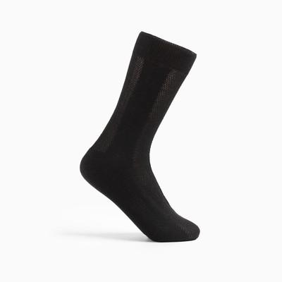 Носки мужские в сетку М-53 цвет чёрный, р-р 25