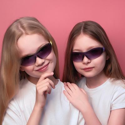 Очки солнцезащитные детские Спорт. Оправа полоса, дужками микс , линза сплошная,13.5х12х4см