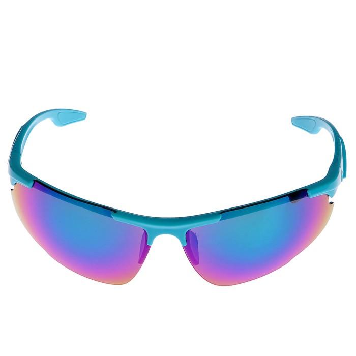 Очки спортивные, линзы радужные, оправа голубая, выпуклая, uv 400,