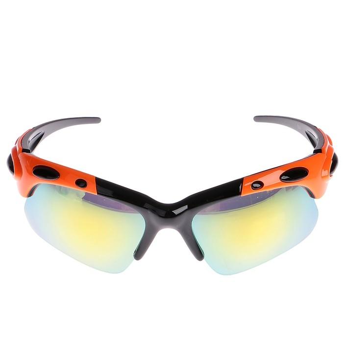 Очки спортивные, линзы зеркальные, дужки оранжево-чёрные, uv 400, микс, 17х15х4.5 см
