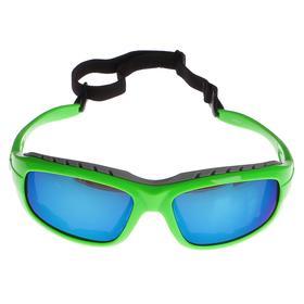 Очки спортивные, линзы голубые, оправа модная, дужки зелёные, uv 400, микс, 17х15х4.5 см Ош
