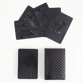 """Карты игральные пластиковые  """"Абстракция"""", 54 шт, чёрные матовые, 32 мкр, 9х6 см"""