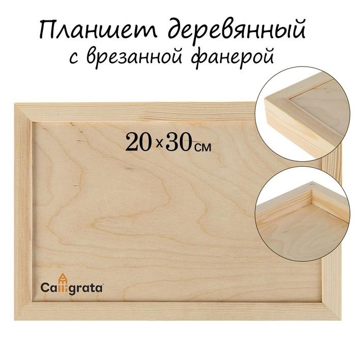 Планшет деревянный с врезанной фанерой 20*30*3,5 глубина 0.5 сосн Школа художников