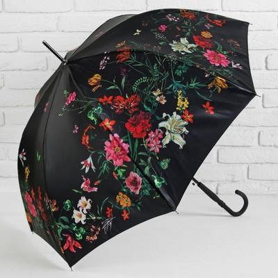 """Зонт-трость """"Нежность"""", полуавтоматический, R=48см, цвет чёрный"""
