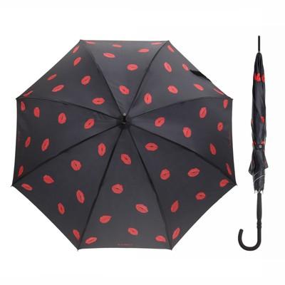 """Зонт-трость """"Очаровательные губки"""", полуавтоматический, R=48см, цвет чёрный"""