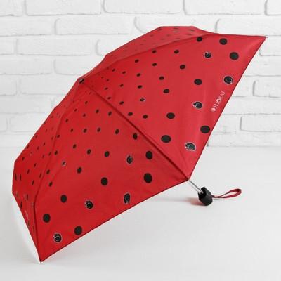"""Зонт механический """"Кошки в горошке"""", R=43см, цвет красный"""