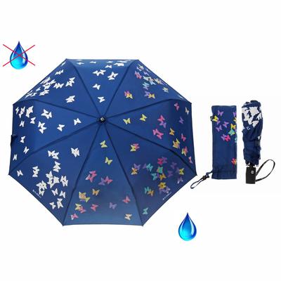 """Зонт автоматический """"Вальс"""", проявляющий рисунок, R=50см, цвет тёмно-синий"""