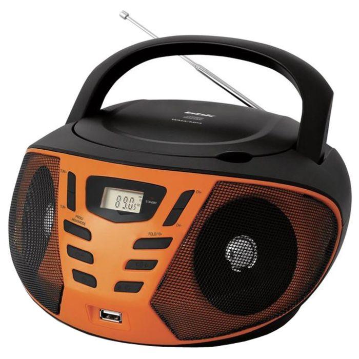 Аудиомагнитола BBK BX193U, 2 Вт, CD, CDRW, MP3, FM(dig), USB, черная/оранжевая