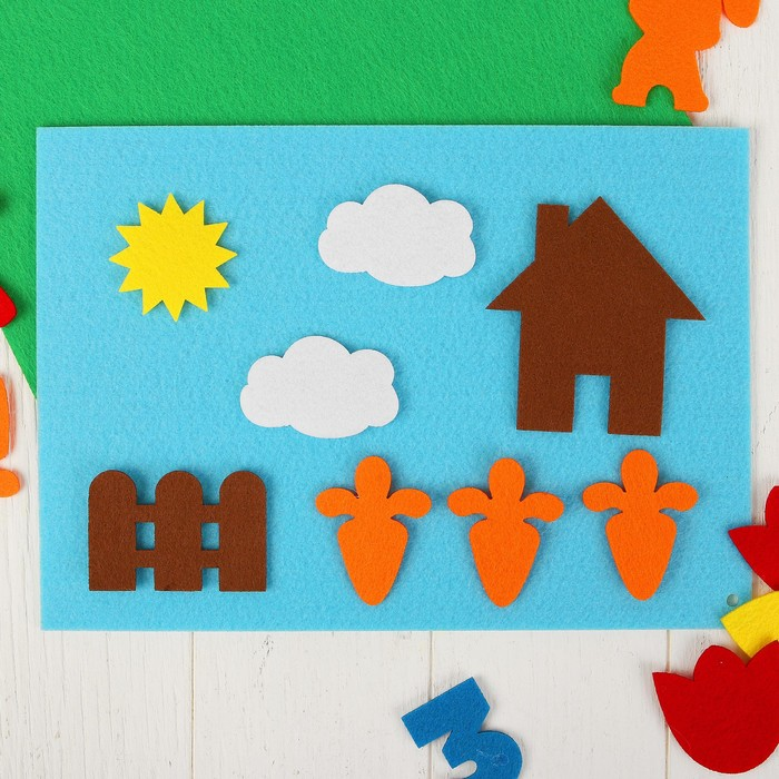 """Игрушка из фетра """"Домашние животные"""", набор: 36 элементов, 2 основы - фото 105532674"""