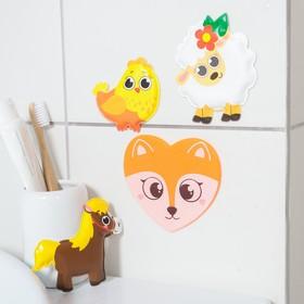 Набор игрушек для ванны «Домашние животные»: наклейки из EVA, 3 шт. + мини-коврик на присосках Ош