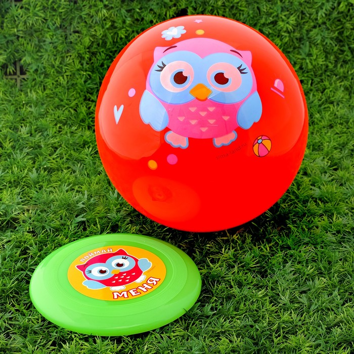 """Игровой набор: фрисби, мяч детский """"Совенок"""", 22 см"""