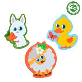Набор игрушек для ванны «Домашние животные: утёнок, зайка, овечка»: наклейки из EVA, 3 шт.