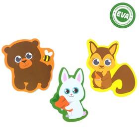 Набор игрушек для ванны «Лесные животные»: наклейки из EVA, 3 шт.