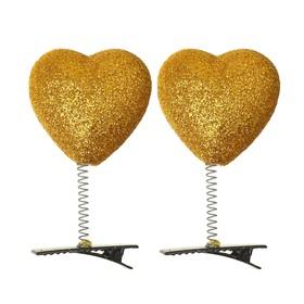 Карнавальный зажим «Сердечко», блеск, цвет золотой Ош