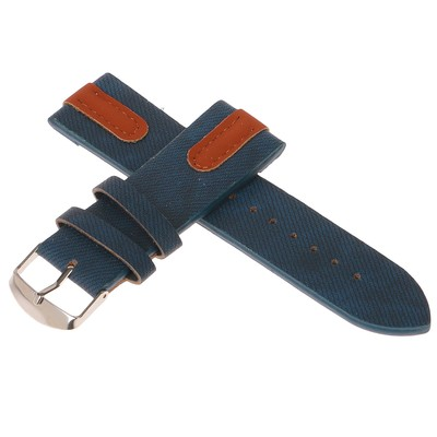 Watchband, 24mm, eco-leather, under blue jeans with brown accents, 22.5 cm