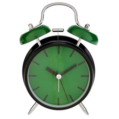 """Будильник """"Классика"""", d=9.5, с подсветкой, металл, чёрно-зелёный"""